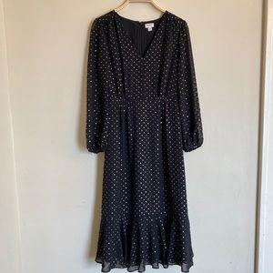 J. Crew Dress Ruffle Bottom Black Gold Dots Sz 00